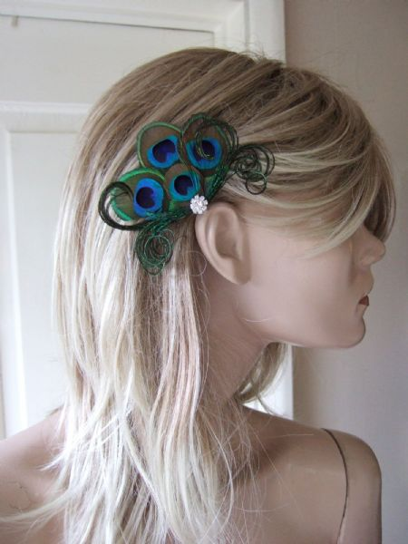 "Bridal Green Brown Natural Peacock Feathers Fascinator Hair Clip Headpiece ""Faye"""